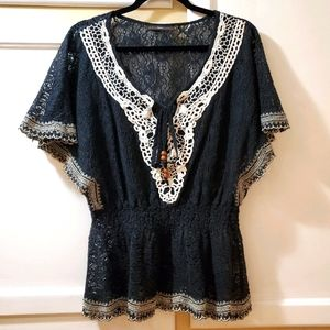 Anthropologie Boho Hazel Lace Bat Wing Blouse